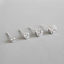 3-6mm 100% S925 Sterling Silver jewelry girl women ear stud minimalist simple smooth round Crystal CZ Stud earring smooth small simple puzzle stud earrings 100% s925 pure silver gold leaves irregular geometry ear fashion jewelry woman gift