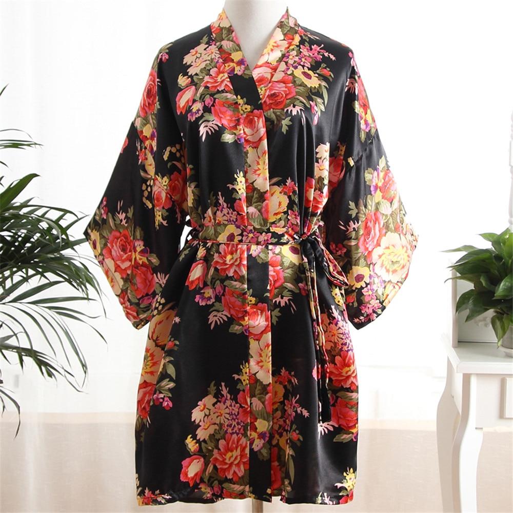 New Gold Print Women Kimono Bath Gown Satin Sleepwear Bathrobe Lady Sexy Nightwear Bride Bridesmaid Wedding Robe Dress Gown