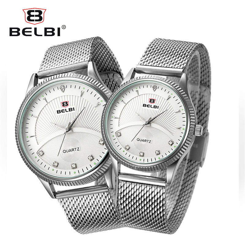 BELBI Women Watches Quartz Top Brand Luxury Fashion Bracelet Watch Couple Fashion Silver Stainless steel mesh belt Watches quality manufacturers direct sales 2016 belbi brand fashion simple womens watches quartz watch personality stainless steel watch
