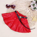 Children Skirt New Style 2016 Spring Leather Mini Skirts Kids Girls Pleated Fashion PU Skirt
