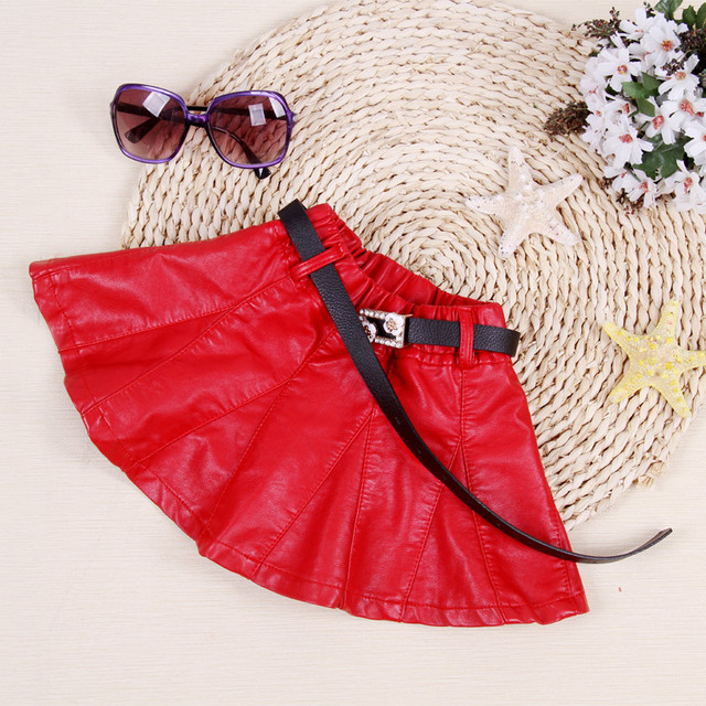 Children Skirt New Style 2016 Spring Leather Mini Skirts Kids Girls Pleated Fashion PU Skirt