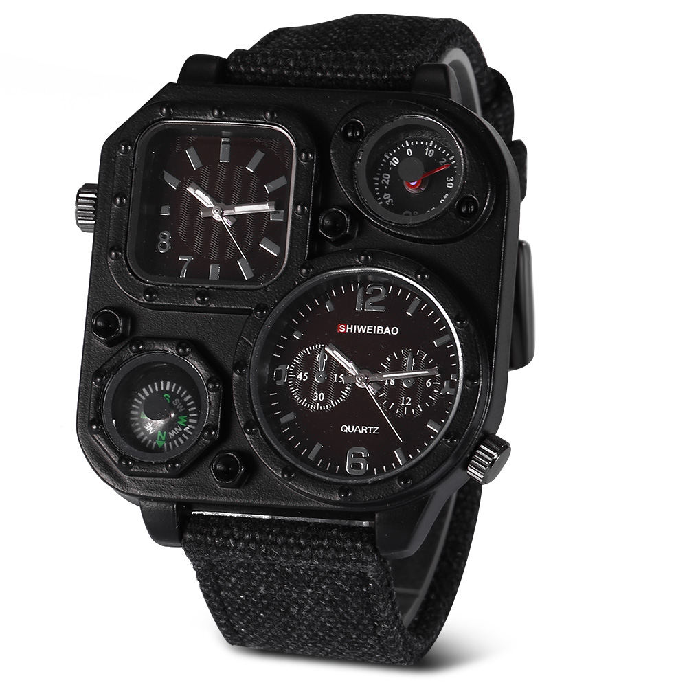 Quartz Mens Watches Top Brand Luxury Canvas Strap Sports Wrist Watch For Men Daul Times Military Relogio Masculino Quartz-watch
