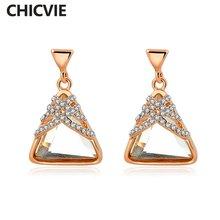 Chicvie новые очаровательные треугольные висячие серьги с имитацией