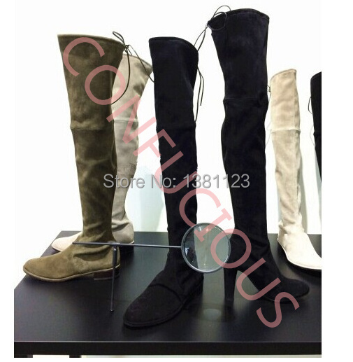 2014 autumn /winter hottest sexy designer boots women suede leather slim fit over the knee boots female stretch motorcycle booty
