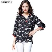 MUSENDA Plus Size Women Black Swan Print Chiffon Loose V Neck Blouse 2017 Summer Lady Fashion