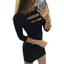Summer Women Sexy Dress Sheath Package Hip Party Dress Three Quarter Sleeve Hollow Out Bodycon Mini