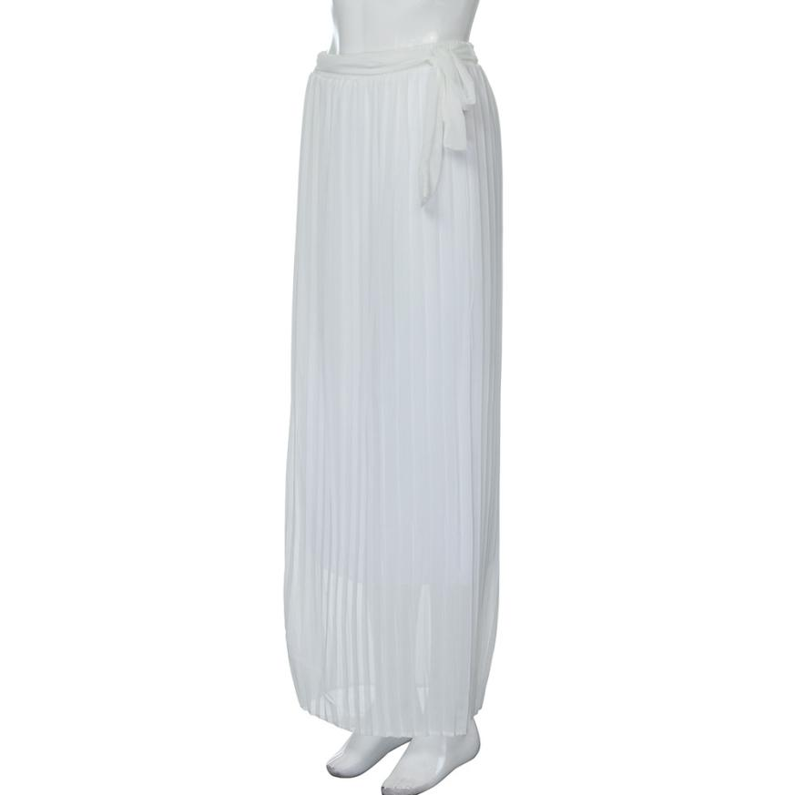 Röcke Frauen 2017 Chiffon Weiße Hohe Taille Strand Wrap Maxi rock Split Lange Faltenröcke für Weiblich Saia Longa Jupe Longue