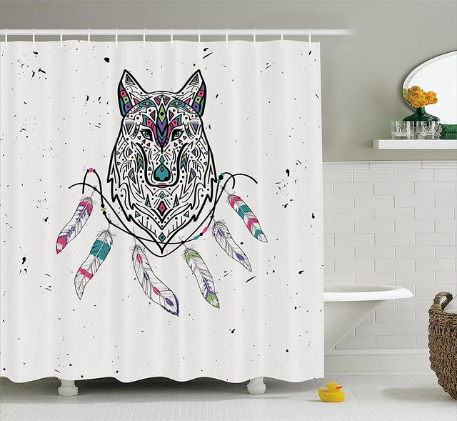 Tribal Shower Curtain Wild And Free Inspirational Artwork Ethnic Wolf With Boho Feathers Print Decor Set