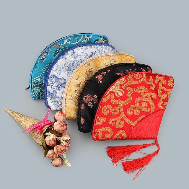 en forma de abanico borla patchwork bolsa grande con cremallera monedero monedero favor del banquete de