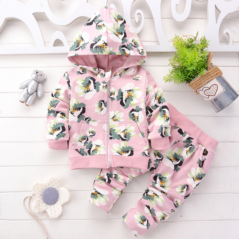 Kids Baby Girl Clothes Sets Fashion High Qulity Dot Print Hooded Set For Girl Outfit Toddler Infant Children Suit 0 2 3 4 Years