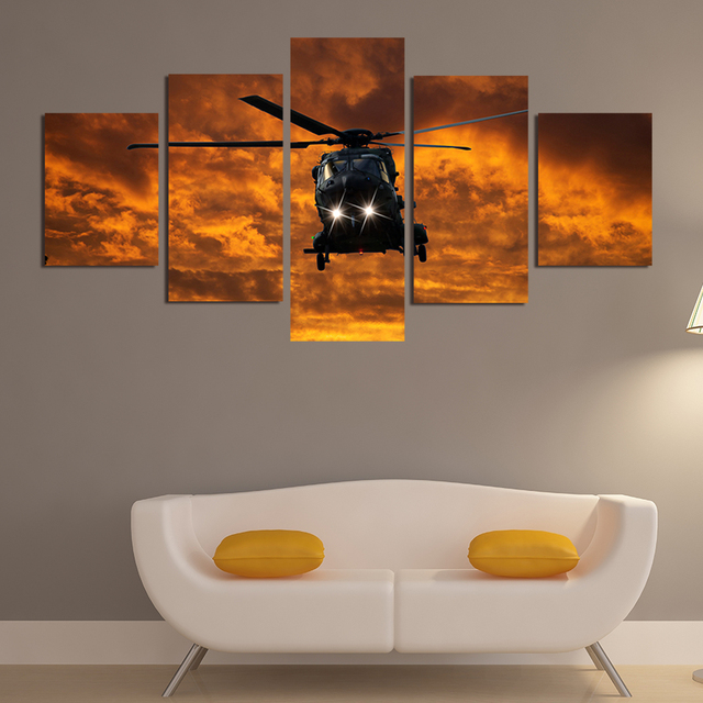 Modern Frames For Paintings Canvas 5 Panel Military Aircraft Landscape  Painting Home Decor Art Print Modular