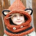 BBK 2016 Fashion children's hat Fox shawl cap winter warm scarf wool knit cap baby hat Black bear cap girls hats Wild sweater