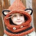 BBK 2016 Moda infantil chapéu Fox cap xale inverno cachecol quente malha de lã cap chapéu do bebê urso Preto cap meninas chapéus Selvagem camisola