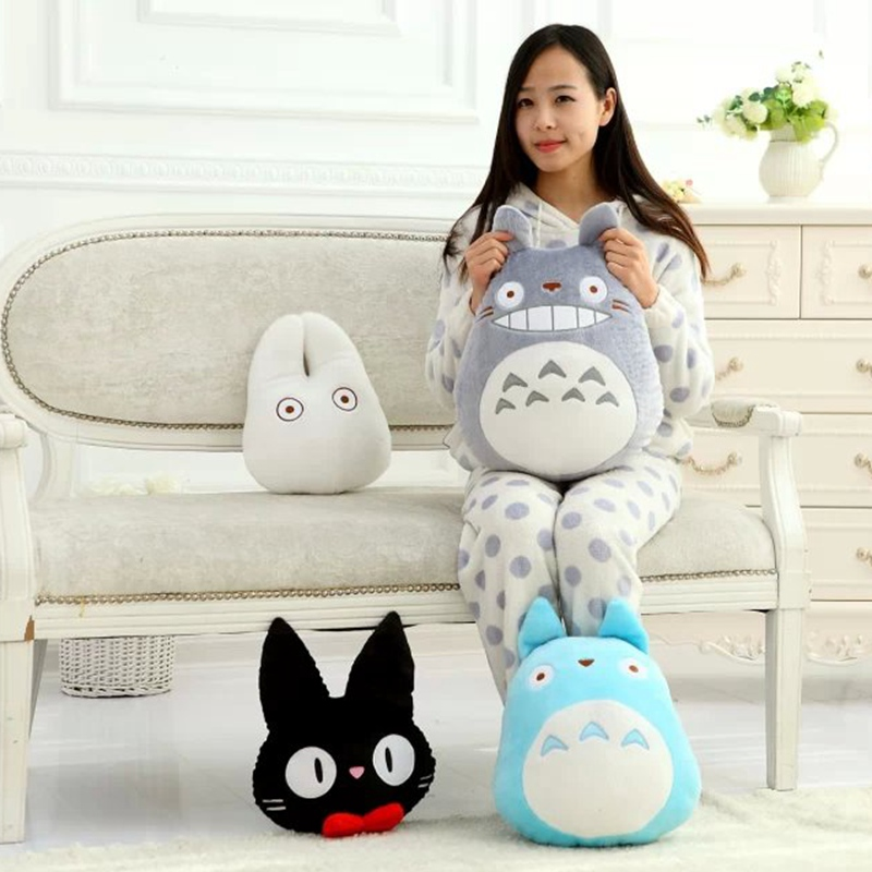 купить Japan Anime TOTORO Plush Toy Soft Stuffed Cat Pillow Cushion Cartoon White Totoro Doll KiKis Delivery Service Black Cat Kids Toy