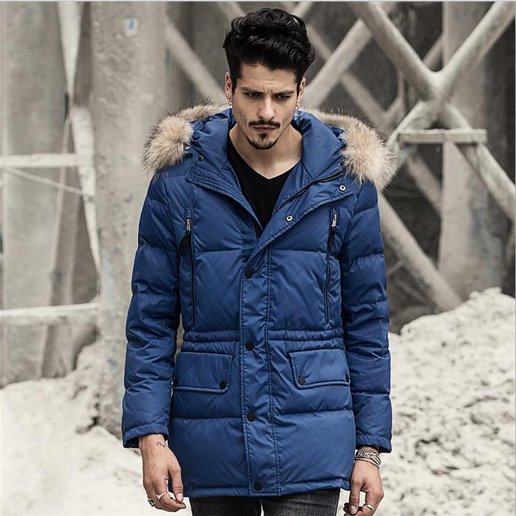 2015 European Style Winter Jacket Men Hooded Raccoon Fur Medium Long Parka 75% white duck Blue/Yellow Plus Size M-XXL
