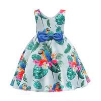 Girls Bowtie Flower Print Dresses Girl Summer Party Princess Dress 2018 3 4 5 6 7