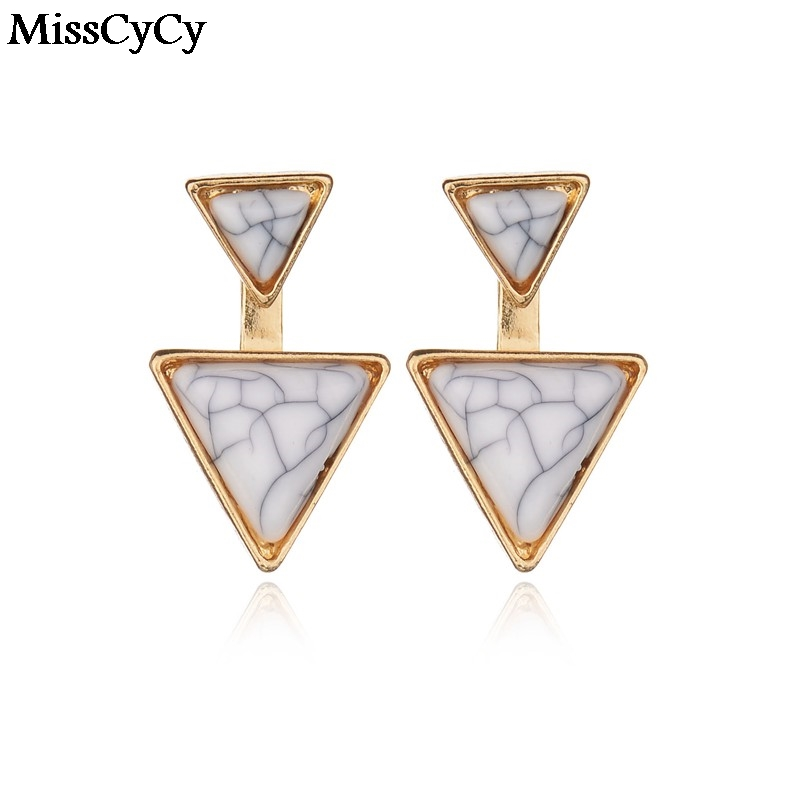 MissCyCy New Fashion Gold Color Geometric Triangle Stud Earrings For Women Fine Jewelry bijoux brincos Wholesale