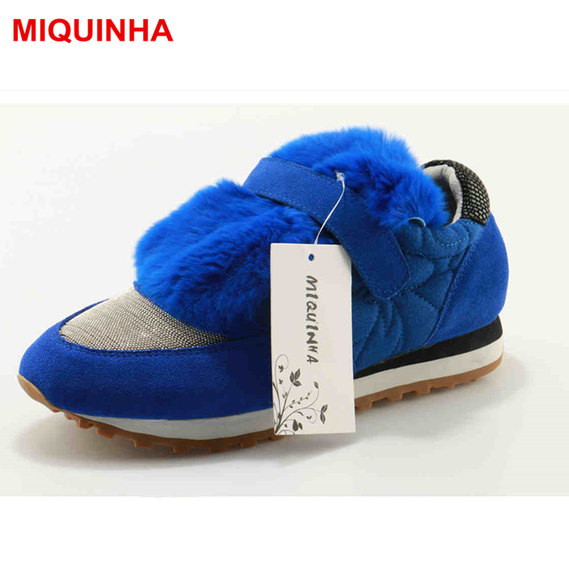 MIQUINHA Round Toe Fur Decor Women Casual Shoes Fashion Out Fitter Girl Winter Shoes Loafers Girl Lady Flats Luxury Brand Design latest style women s loafers girl white shoes fashion women s shoes 2017 ox fur embroider deodorization massage