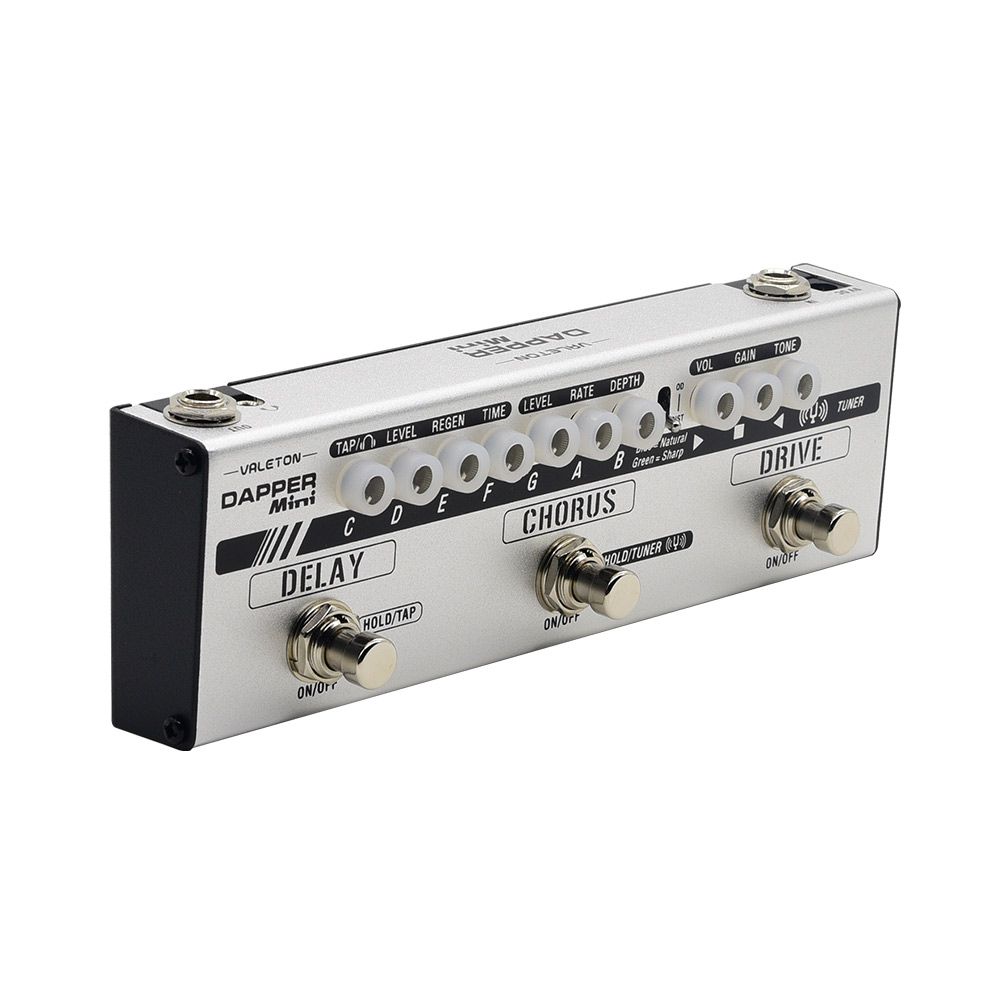 Valeton Dapper Mini Multi effect Pedal with Overdrive Distortion Tuner Chorus Delay with Tap Tempo for