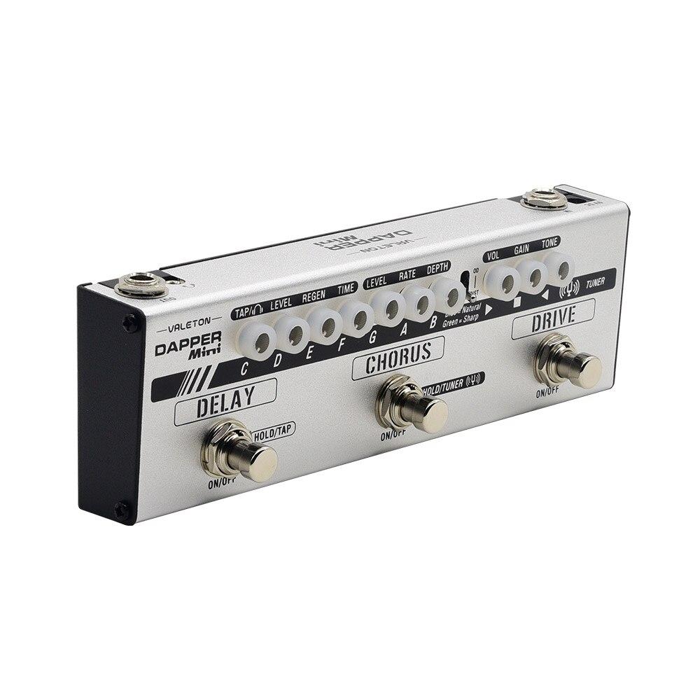 Valeton Dapper Mini Multi-effet Pédale avec Overdrive Distorsion Tuner Refrain Retard avec Tap Tempo pour Électrique Guitare MES-1
