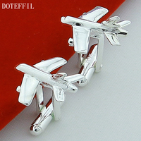 Men Gift Airplane Cufflinks Novelty Aircraft Design 925 Sterling Silver Color Cuff Links Wholesale