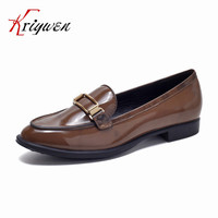 Cowhide Leather Fall Spring New 2016 Women Buckle Casual Shoes Comfortable Brand Shoes Flat Cool Novetly