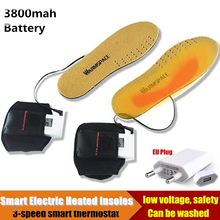 3800MAH Smart Electric Heated Insoles,Winter Warm Outdoor Sport Ride Skiing EVA Insoles Lithium Battery Self Heating 36-46 yards