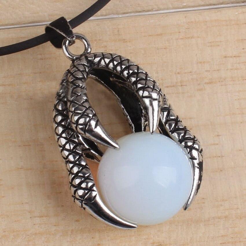 371f014078a3 100-único 1 piezas plata plateado dragón Opalite Opal piedra granos  pendientes para el collar