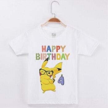 New Arrivals Kids T-Shirt Children Cartoon Pokemon Printing Birthday Cotton Girls Short T Shirts Boys Clothes Fashion Tees Tops 1