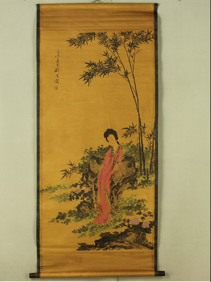 Antique painting traditional Chinese A beautiful girl resting in the ...