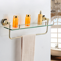 Vidricshelves Solid Brass Golden Finish With Tempered Glass Bathroom Accessories Bathroom Shelf Wall mounted Shelves 93013