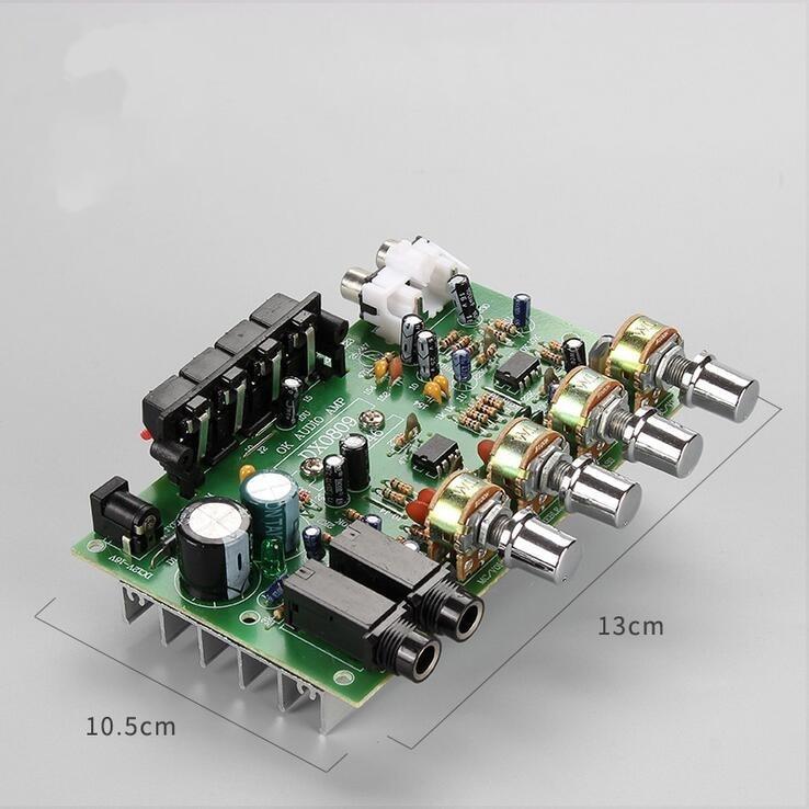 DC 12v 40W + 40W стерео аудио усилитель плата цифровой микрофон усилитель с контролем тона динамик AMP