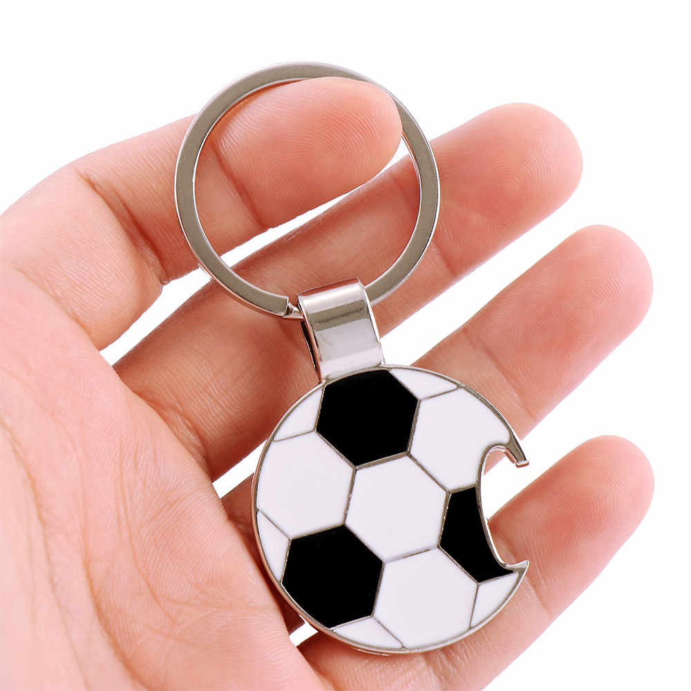 Soccer Football Bottle Opener Key Holder For Men Drop Oil Metal Pendat Keychain music note Keychain Jewelry Father's Day Gift
