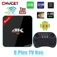 Q Plus 3G/32G Amlogic S912 Octa Core Andorid 6.0 TV BOX 2.4G/5 GHz Podwójny WiFi H.265 BT4.0 4 K Set Top Box Media Player