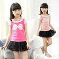 New Children's Summer Girls Lace Short-sleeved T-shirts Children Clothes Kids Clothing Cotton 4 Colour