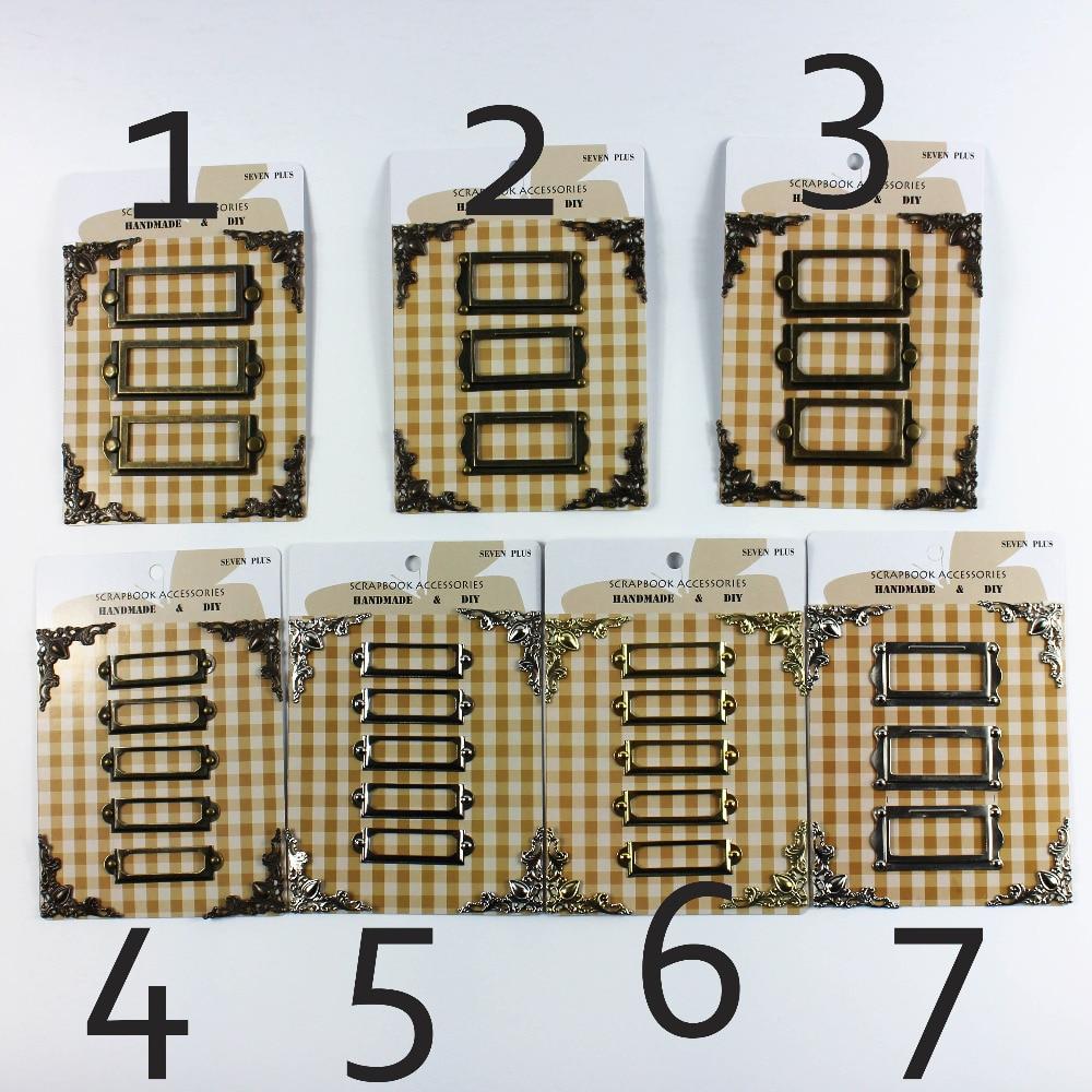 Weinlese / Silber / goldener Metallrahmen etikettiert scrapbooking Dekorationmetalleckenschutz brads Satz 6sets / lot