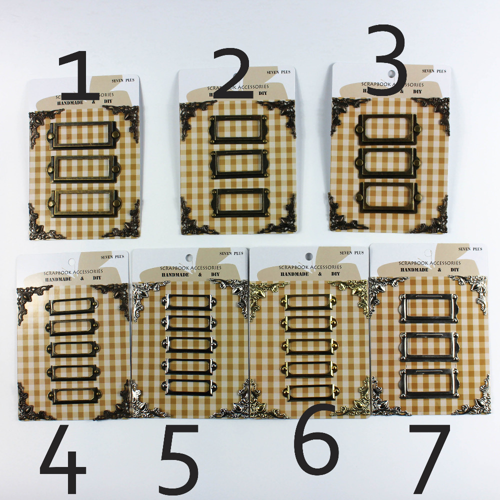 vintage / argint / auriu metal tag-uri cadru scrapbooking decorare colț de metal protectori brads set 6sets / lot