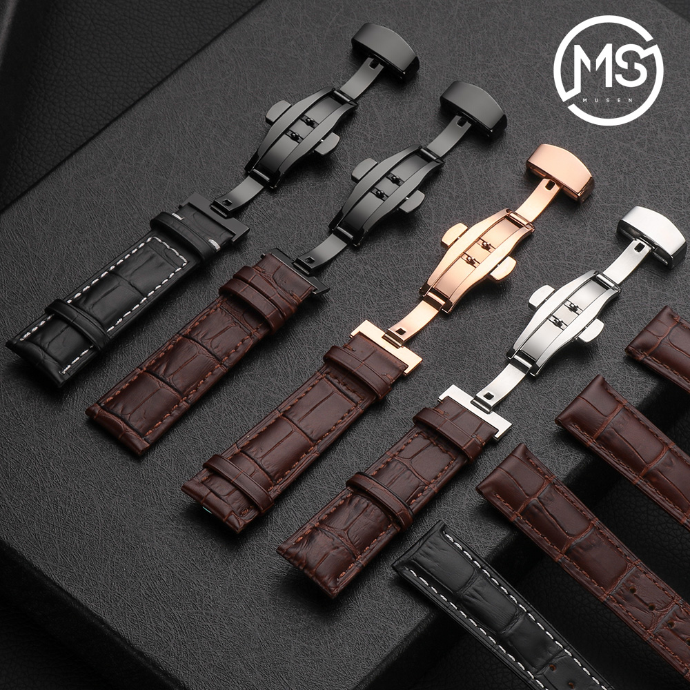 MU SEN New watch bracelet belt black watchbands genuine leather strap watch band 18mm 20mm 22mm watch accessories wristband javrick silicone wristband bracelet band replacement for garmin vivoactive acetate watch sports watch watchbands accessories