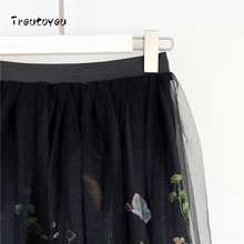 2018 Fashion Midi Mesh Tulle Skirts Womens Vintage Pleated Floral Embroidery Elegant Party Skirt faldas saia jupe