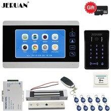 JERUAN 7 Inch Video Doorbell Door phone Voice/Video Recording Intercom System kit With Waterproof Password RFID Access Camera 8G