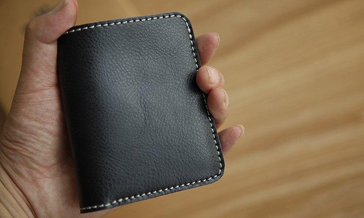 LANSPACE designer handgjord läder plånbok herr plånbok liten - Plånböcker - Foto 5