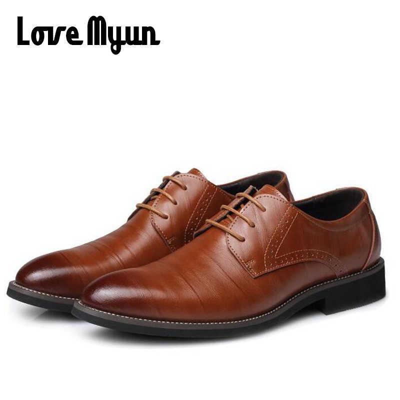 Erkek deri ayakkabı erkek elbise ayakkabı iş düğün ayakkabı Oxfords lace up sivri burun daireler büyük boy 38-45 AA-12