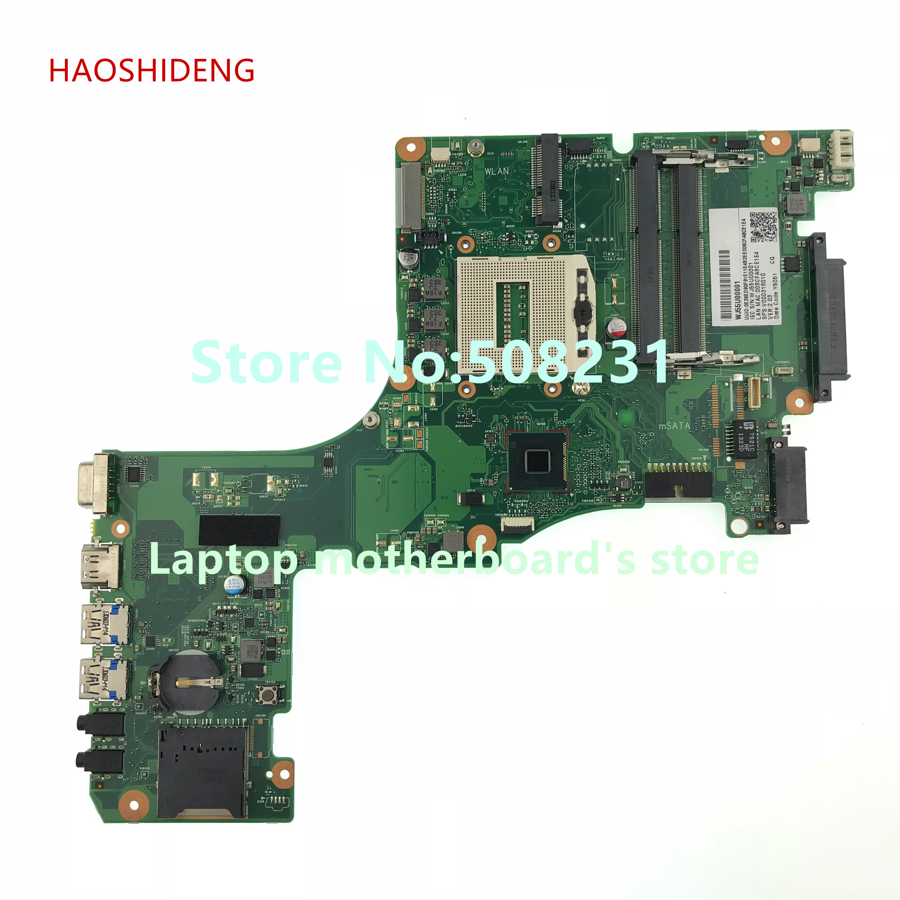 HAOSHIDENG V000318010 CR10S-6050A2555901-MB-A02 Mainboard for Toshiba Satellite L50-A L55-A Laptop Motherboard socket PGA 947 free shipping v000318010 for toshiba satellite l50 a l55 a l50t a l55t a laptop motherboard all functions 100% fully tested