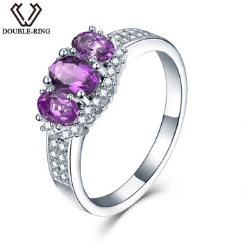 DOUBLE-R 0.87ct Natural Amethyst Sterling-Silver-Jewelry Necklaces & Pendants 925 Sterling Silver Vintage Fine Jewelry for women