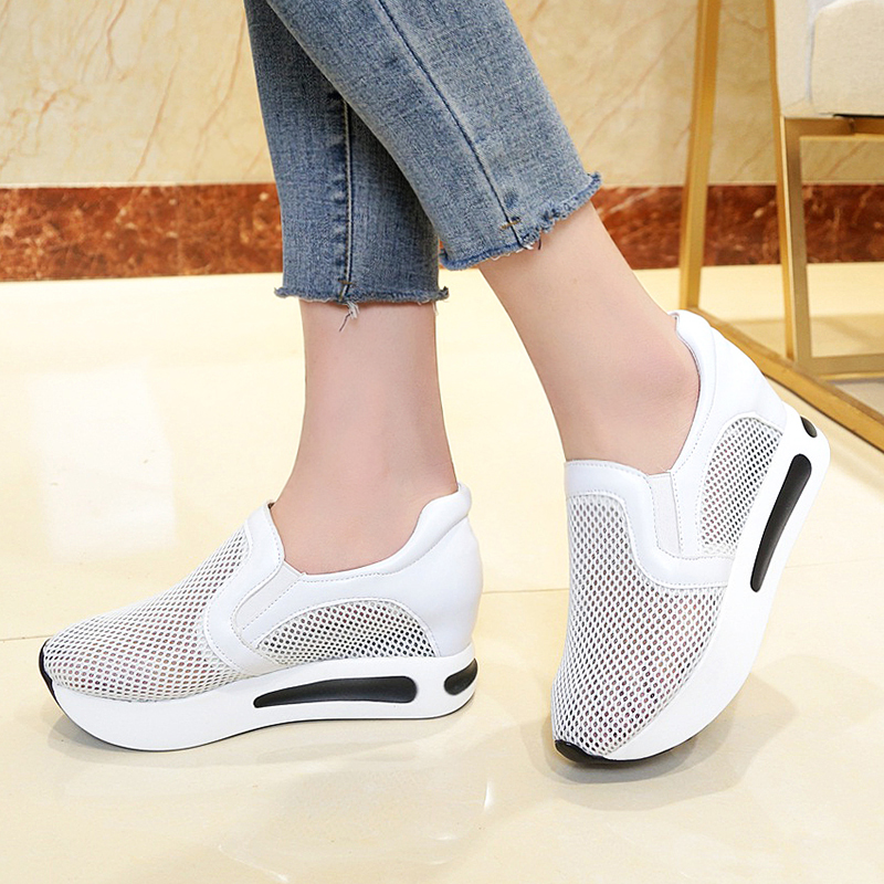 Lucyever New 2018 Fashion Summer Hollow Out Causal Shoes Platform Breathable Cut Outs Slip on Ladies Vulcanize Shoes Woman