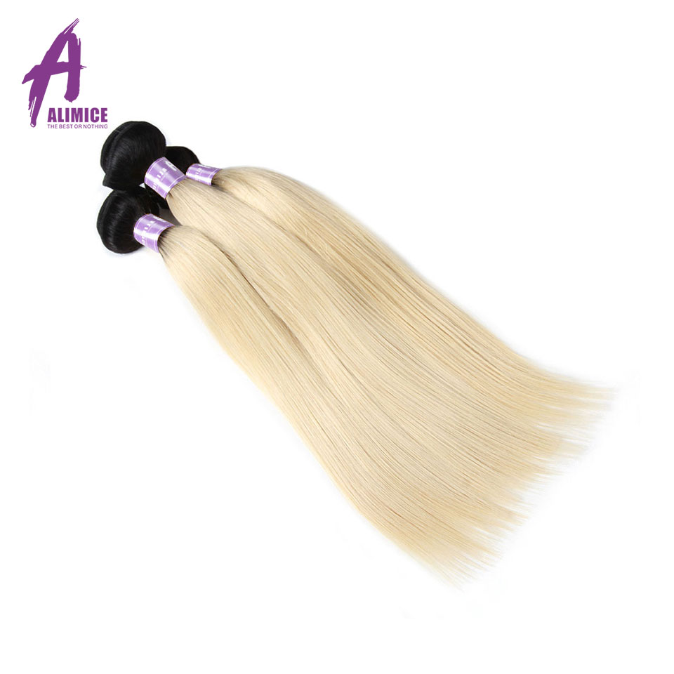 Ombre Indian Straight Human Hair 3 Bundles T1B/613 Ombre Blonde Color Hair Bundles Alimice Remy Human Hair Weaves Dark Roots