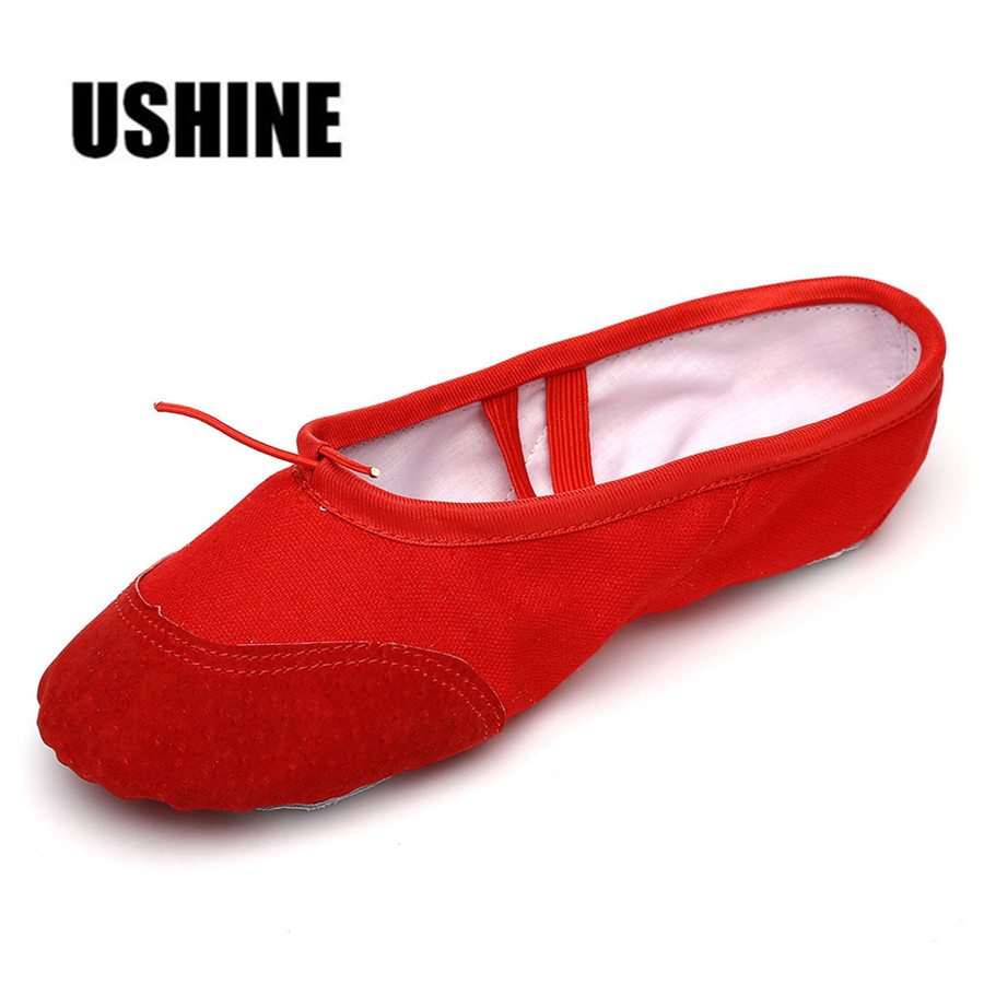 USHINE Professional Red Leather Pink White Black Head Soft Canvas Ballet Dance Shoes For Kids Woman Children