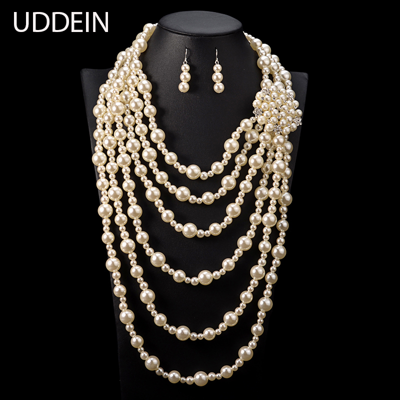 UDDEIN exaggerate long necklace for women wedding jewelry sets multi layer pearl jewelry vintage statement African beads jewelry