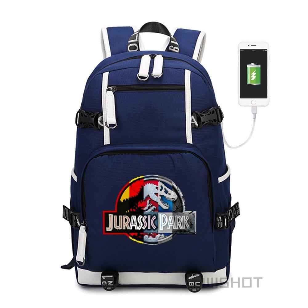 WISHOT Jurassic Park World mochila multifunción de carga USB bolsa de viaje para adolescentes niños niñas estudiantes mochilas escolares-in Mochilas from Maletas y bolsas    1