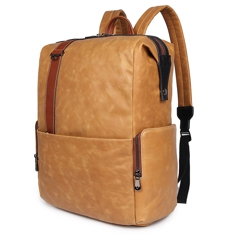 Men's Bags Knowledgeable Nesitu High Quality New Brown Real Skin Genuine Leather 14 15.6 17 Laptop Men Backpacks Cowhide Man Travel Bags M7260